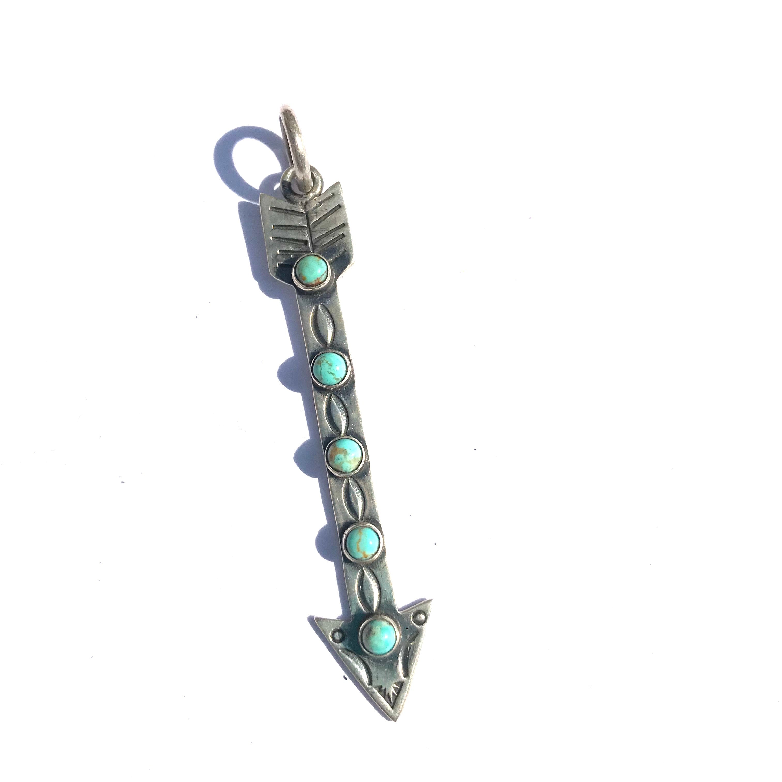 Arrow charm with turquoise sterling silver