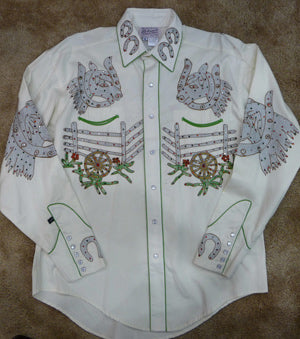 Rhinestone Embriodered cactus wagon wheel shirt