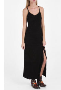 Suede fringed long dress