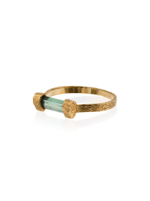 18k yellow gold Kinetic Horizon green tourmaline ring