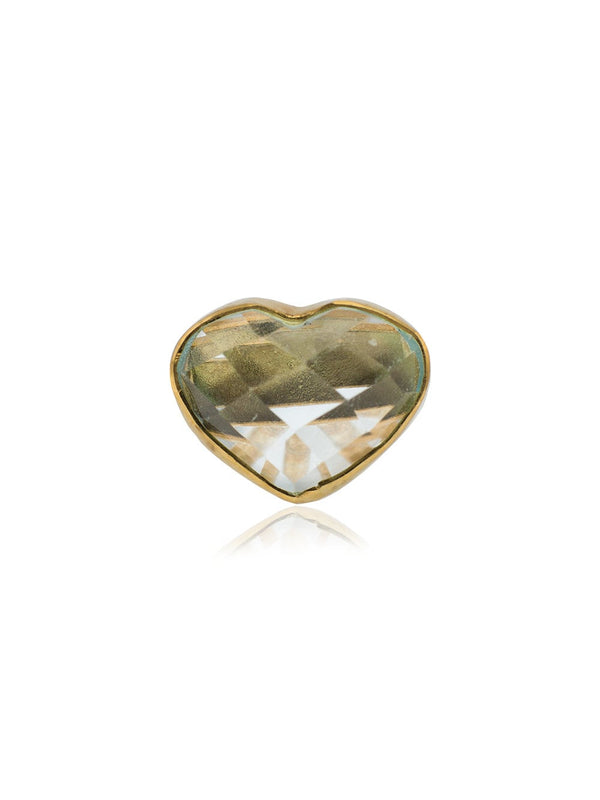18k yellow gold aquamarine heart stud earring
