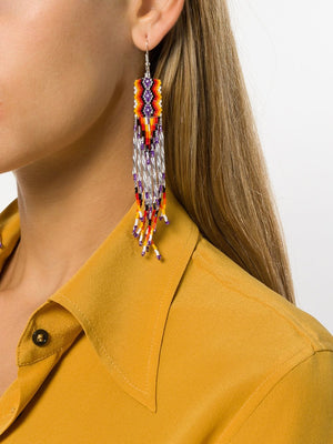 Jessie Western Hand Beaded Fringed Earrings