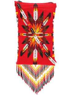 Red Morning Star Beaded Crossbody Fringed Bag