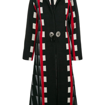 Geometric tied long coat