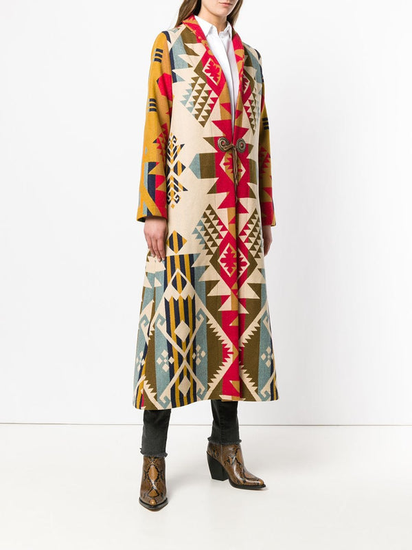 Ethnic lace-up long coat