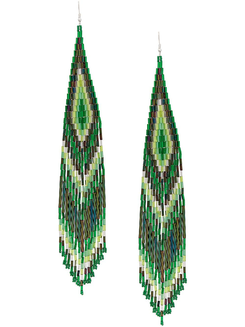 Green Long Beaded Earrings