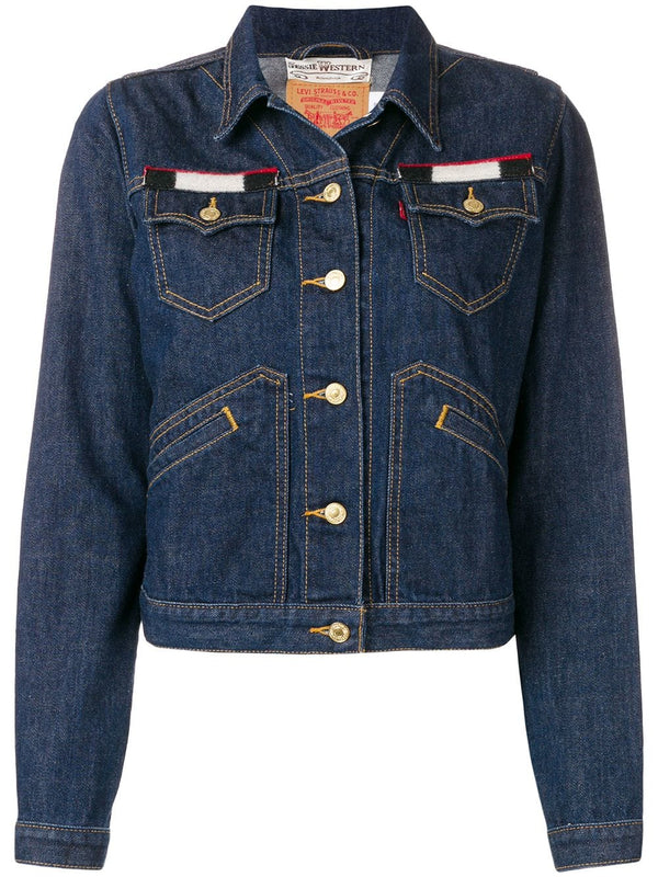 Denim Jacket with blanket inlaid back