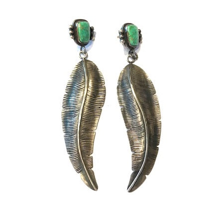 Emerald turquoise large feather earrings