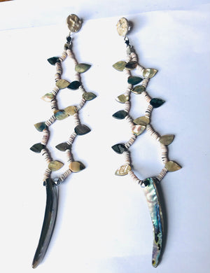 Amazing shoulder duster crow Indian earrings