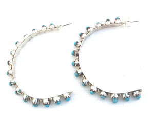 Amazing light turquoise sterling silver earring