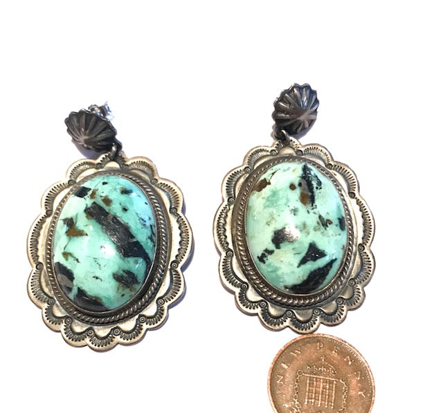 Green turquoise Navajo earrings