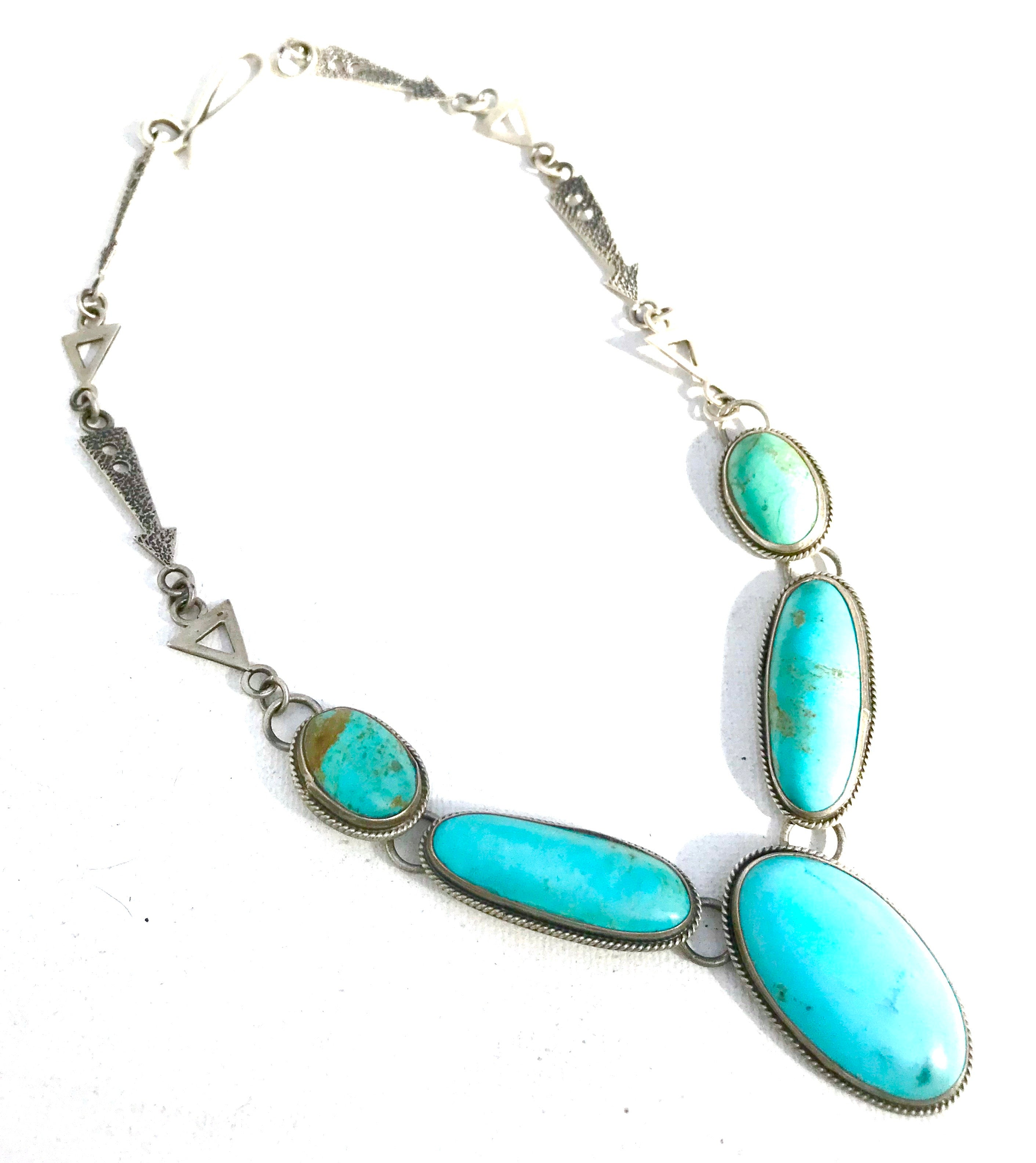 Navajo heavy gauge silver turquoise necklace