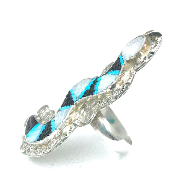 Snake ring mother of pearl and turquoise ring