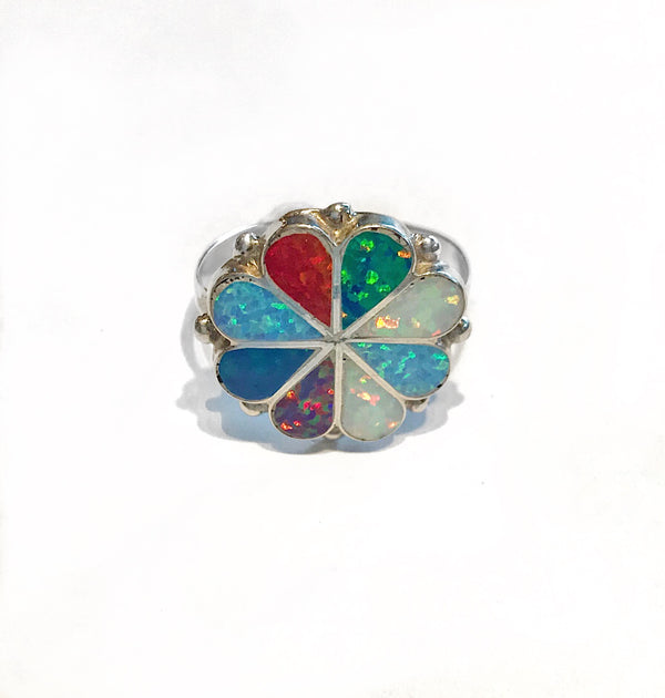 Small Multi Opal Cluster Ring