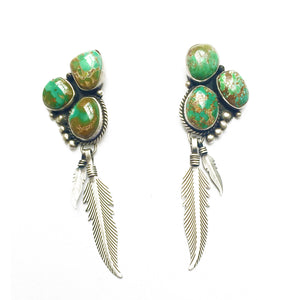 Emerald Green Turquoise Feather Earrings