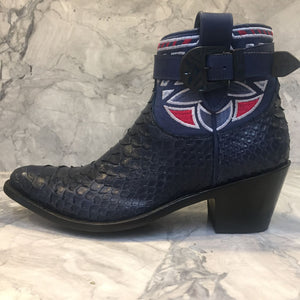 Navy python short cowboy boot with buckle