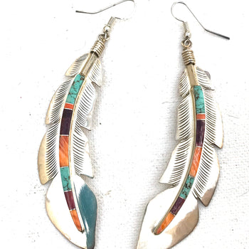 Sterling silver feather inlaid earrings