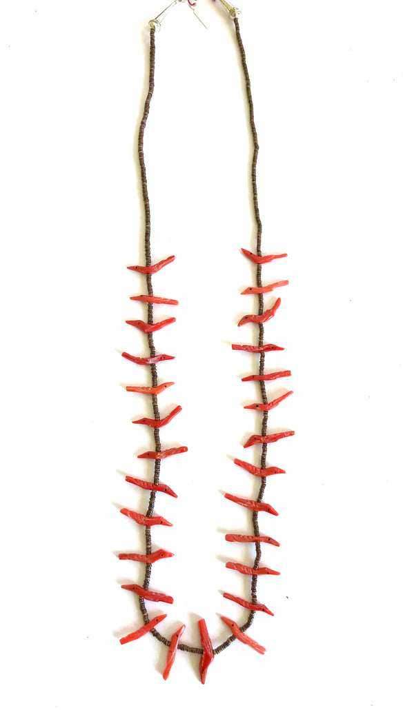 Long Stunning Zuni coral power animal necklace