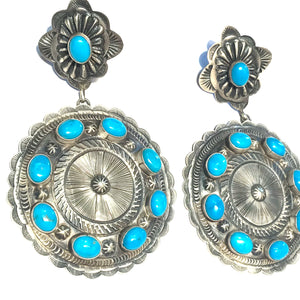 Large amazing Navajo concho earrings