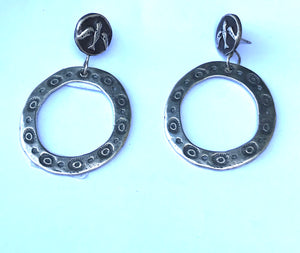 Crow medicine hand beaten sterling silver earrings