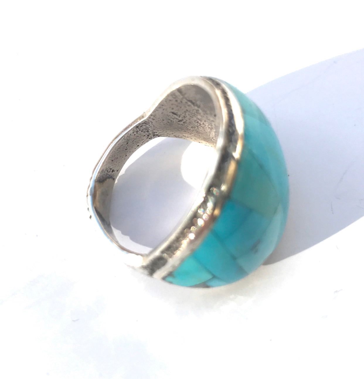 Sand cast  Inlay Sleeping Beauty Turquoise Ring