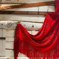 Handmade Red Fringed Shawl