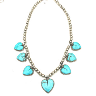Stunning heart necklace made with sleeping beauty turquoise and sterling beads