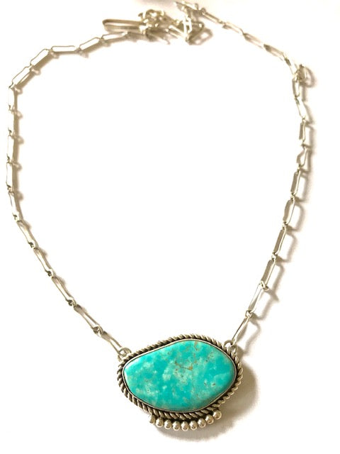 Turquoise Navajo necklace -hand made chain Navajo chain