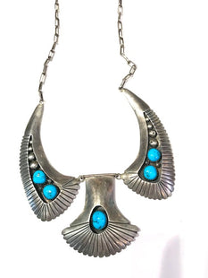 Turquoise and silver necklace Navajo 1960s