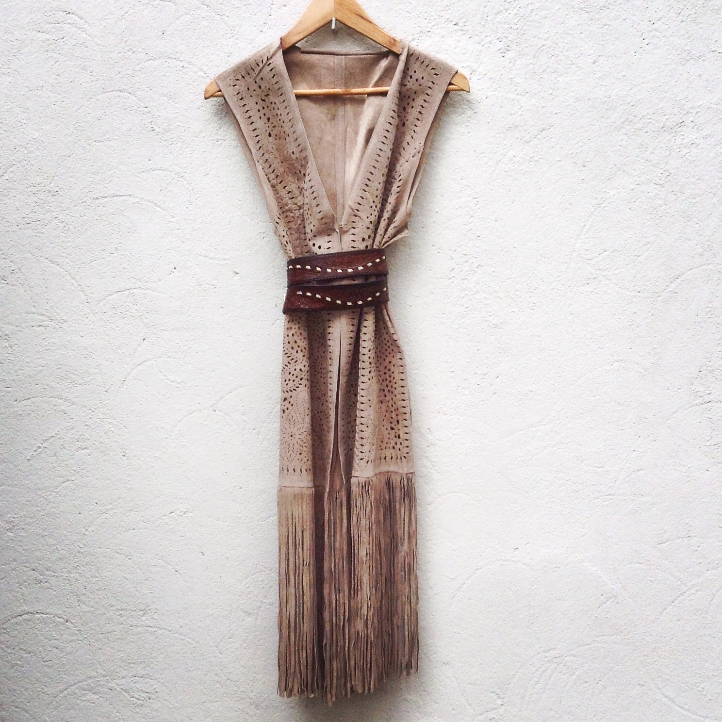 Long Fringed Waistcoat with Laser Cutting