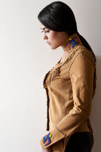 Handmade Tan Suede Eagle Beaded Jacket