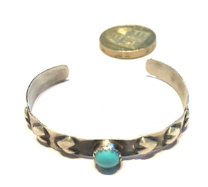 Silver and turquoise kids bracelet