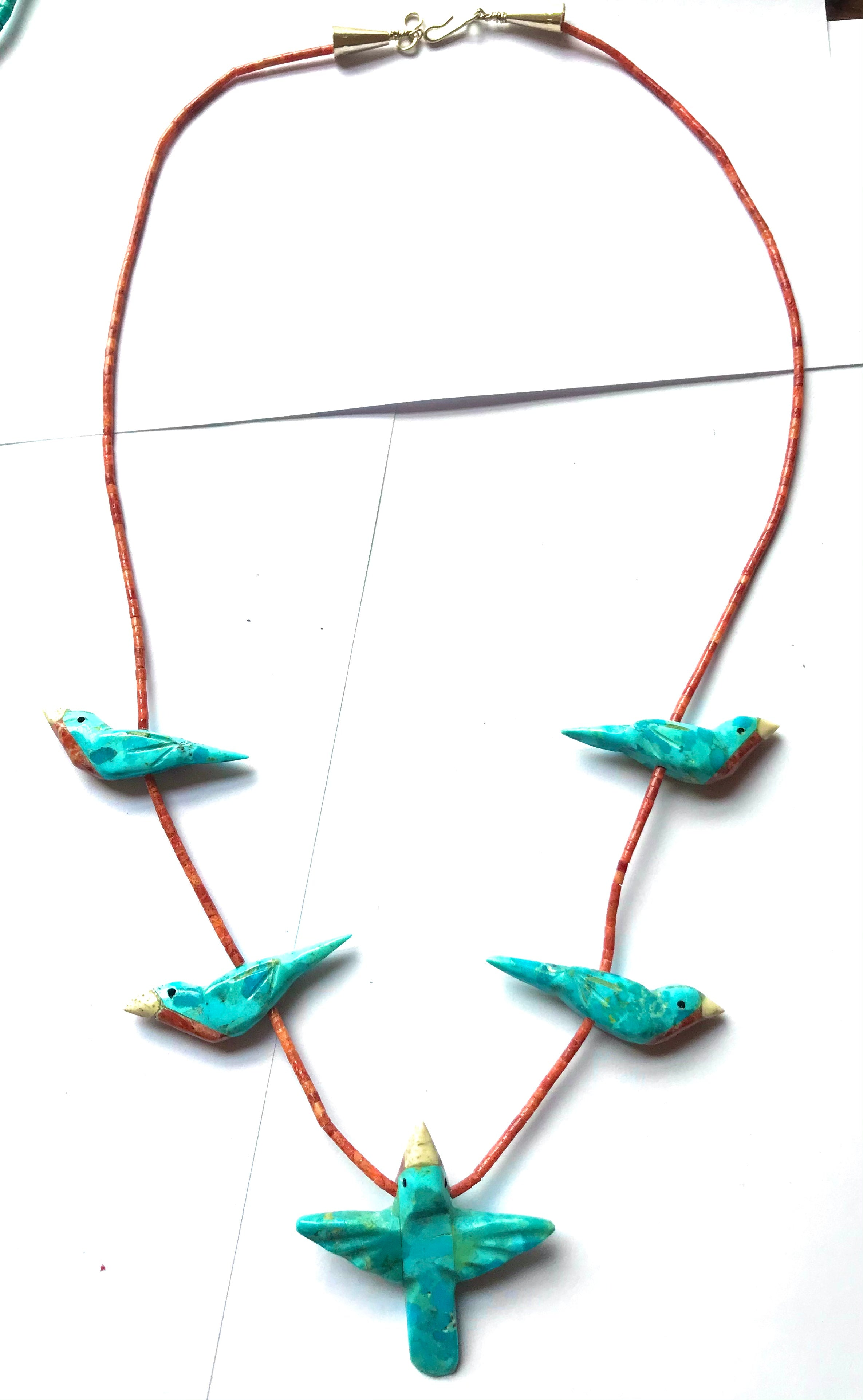 New Coral and turquoise power animal necklace