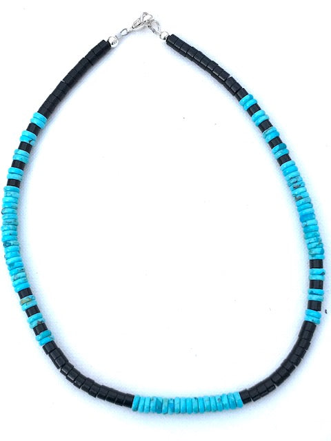 Jet and turquoise necklace