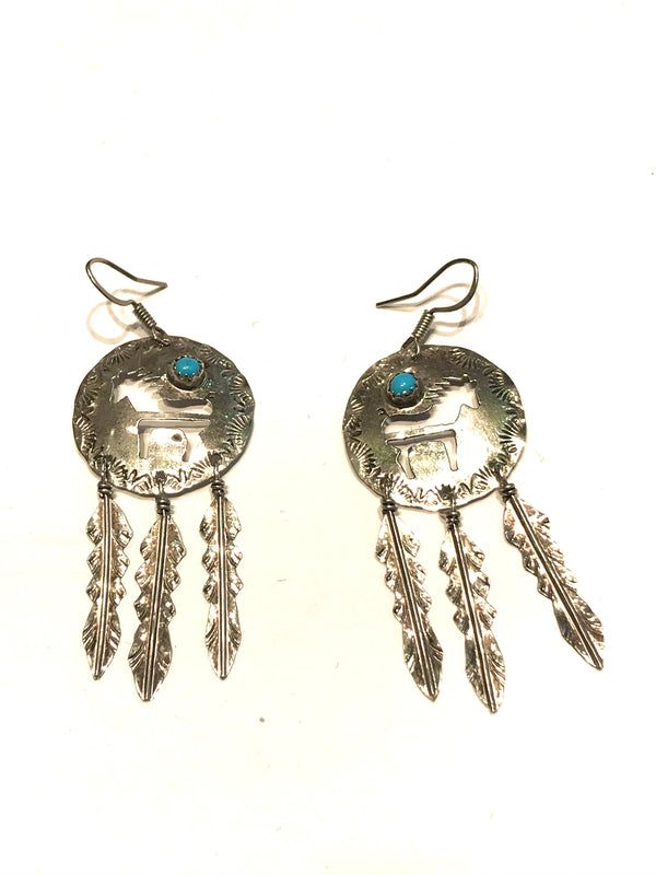Horse medicine shield earrings