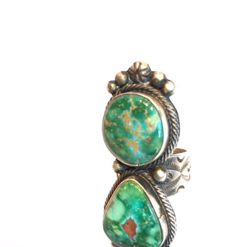 Emerald Turquoise Double Stone Ring