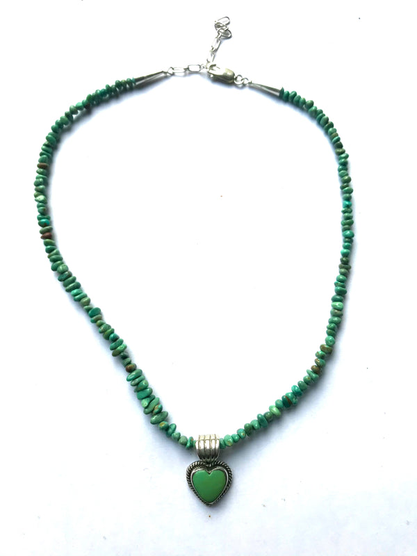 Turquoise green necklace & heart pendent