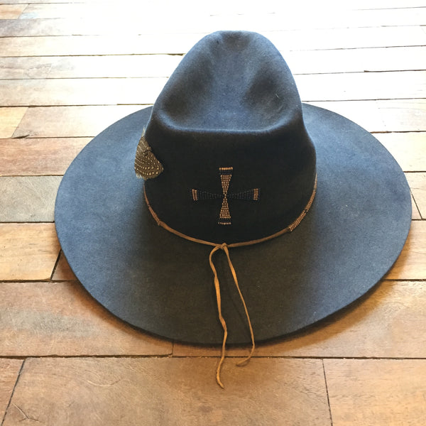Hand beaded re worked original cowboy hat