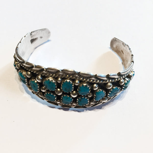Sterling silver and turquoise childs bracelet