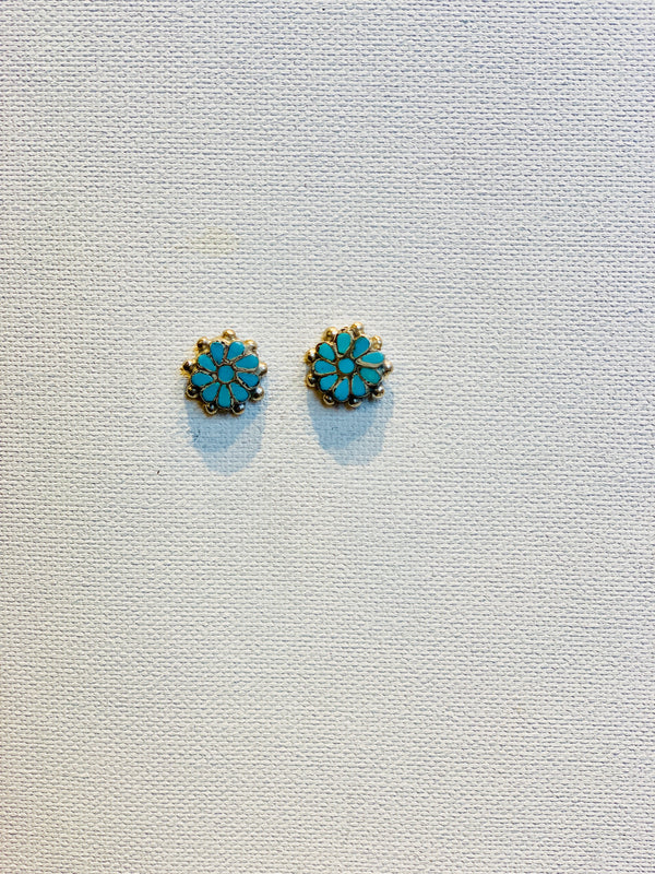 Turquoise Flower Earring Studs