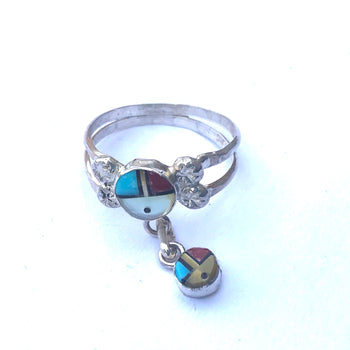 Zuni ring with chain dangle