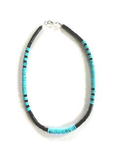 Medium width turquoise and jet necklace