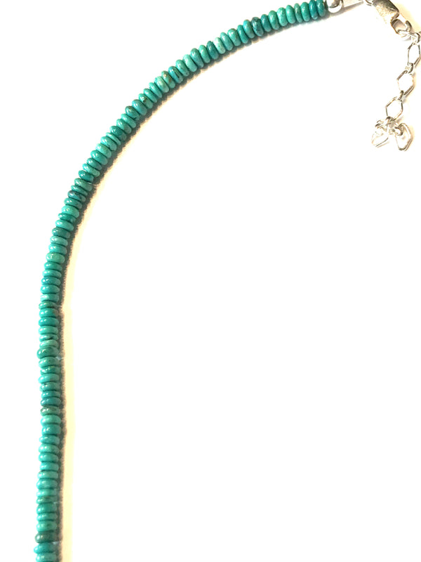 Long turquoise strand necklace