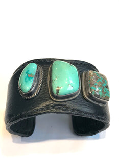 Leather , turquoise Navajo cuff / bracelet