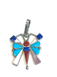 Butterfly inlaid Zuni pendent
