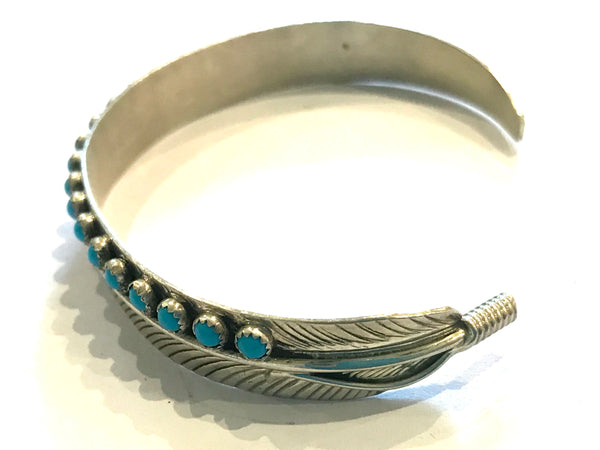 Feather petit point turquoise bracelet