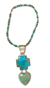 Navajo Large four directions cross pendant and heart