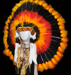 Headdress, orange , red , yellow and black head dress hand made singed by the artist.