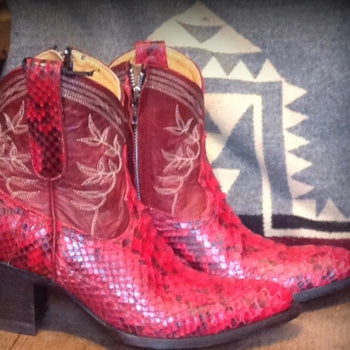 Red Python short boots