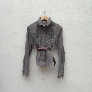 Fringed jacket in grey